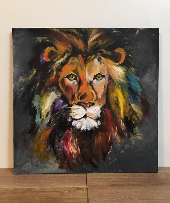 Custom Original Paintings On Handbuilt Wood Panels Lion Sports Etsy