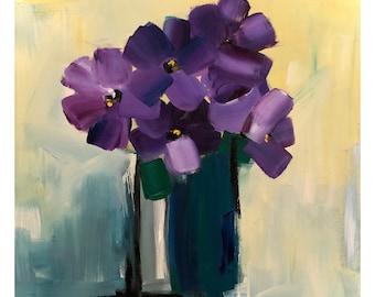 Purple Flower Painting on a Wood Panel Original Art