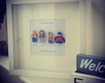 Lego mini figures customised FAMILY of 4 personalised gift frame