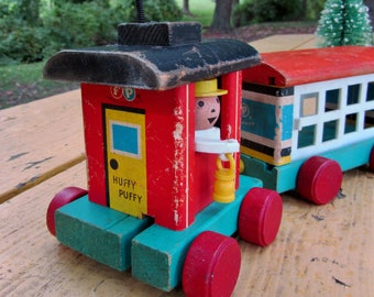 Vintage Fisher Price Train Wooden Toy Caboose Cattle Car Nursery Decor Huffy Puffy 999