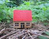 Vintage Blocks Putz Toy House with Red Roof East Germany
