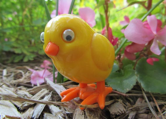 Vintage poussin jouet oiseau en plastique par Tomy