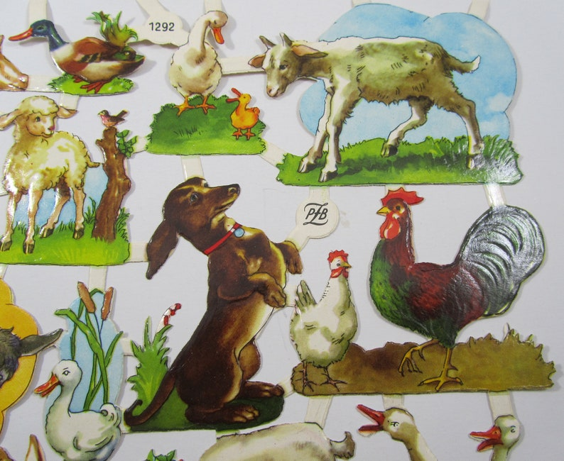 Vintage Farm Animals Embossed Paper Litho Illustrations Printed in Germany