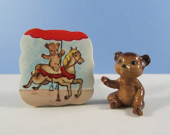 Vintage Dennison Carousel Stickers Merry-go-round Horse and Bear