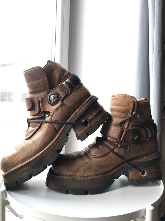 New Rock Real Vintage Cowboy Men's Moto Boots Real