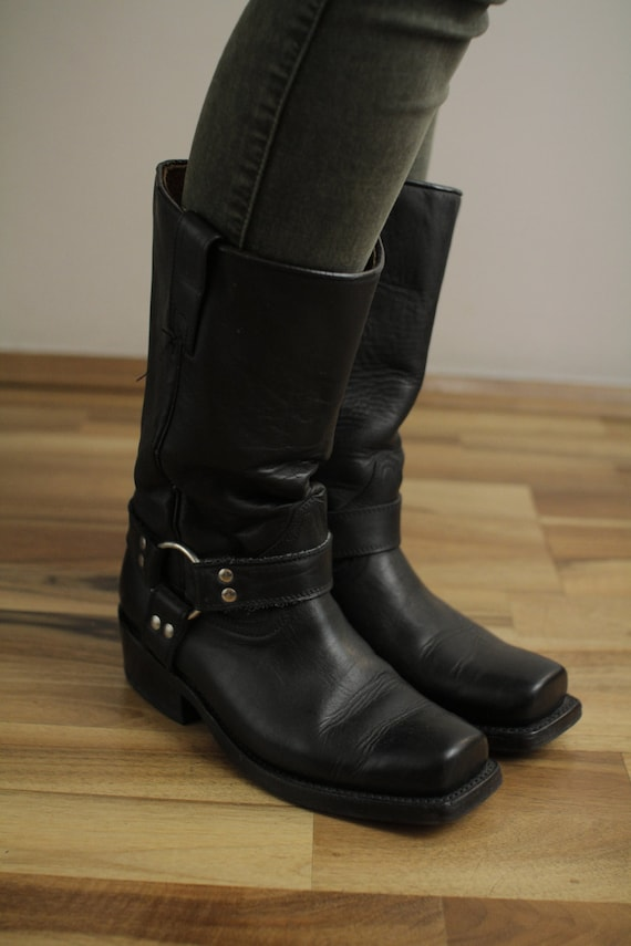 low priced 4e842 6a7bd Buffalo Real Vintage Cowboy Moto Boots Real leather 38 Eur 5 UK, USA 7 1/2