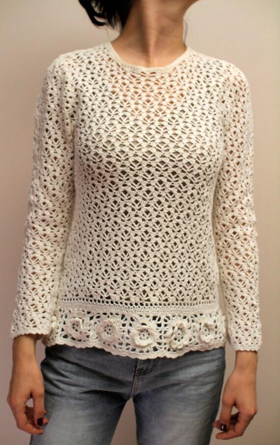 Vintage Beige Crochet Sweater Hand Made Crochet Fl