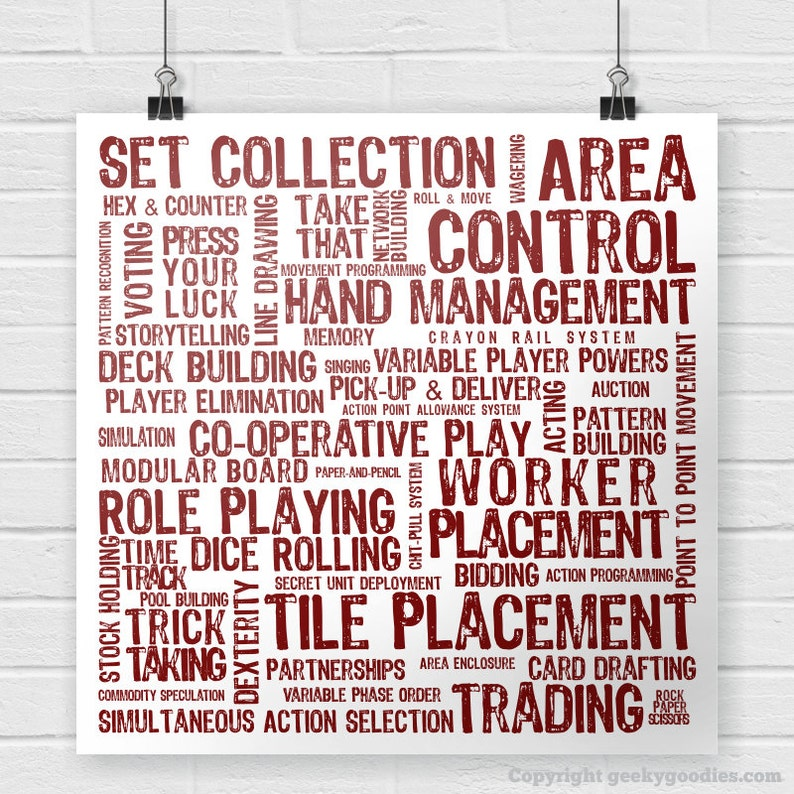 Board Game Mechanics Poster - Tabletop and Strategy Gaming Decor -  Boardgaming Art for BoardGame Geeks - Game Room Posters and Prints