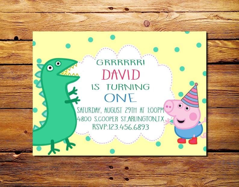 George Pig Birthday Invitation Peppa Custom Personalised