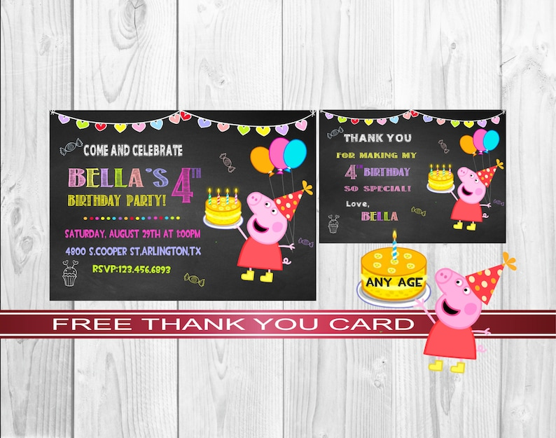 Peppa Pig Invitation Kids Party Printable