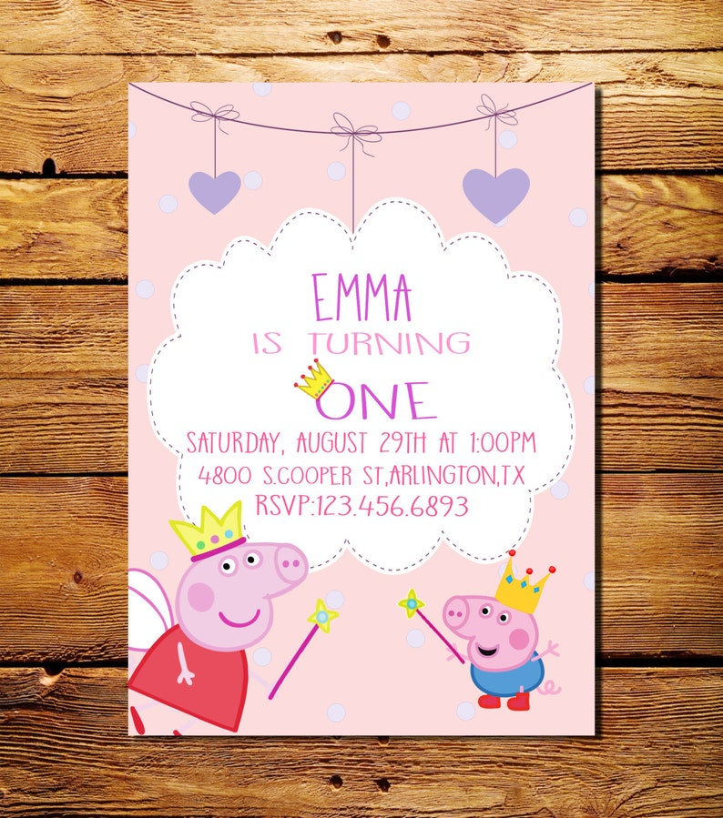 Peppa Pig Invitation Birthday Printable