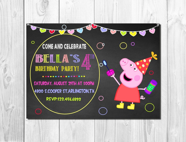 Peppa Pig Invitation Printable Kids Party