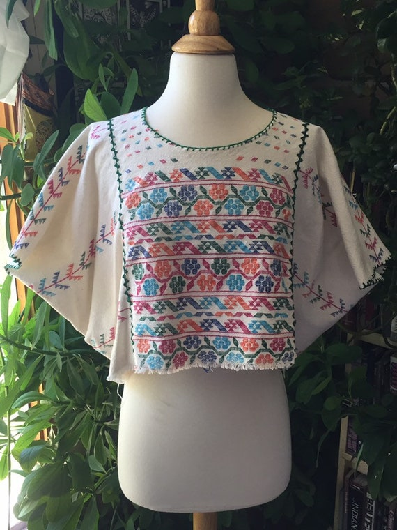 1980s Vintage open size poncho style crop top. Mex