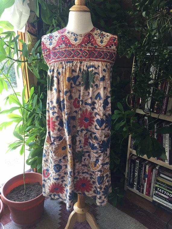 1970s tapestry dress with pockets, sleeveless