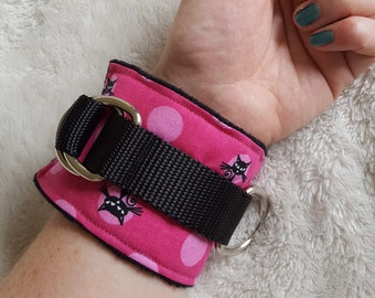 Black Kitty Wrist Cuffs in Pink
