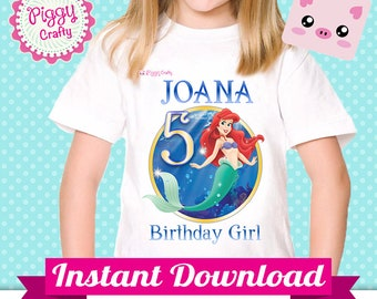T-Shirt design Ariel 01 The Little Mermaid for Iron on Transfer T-shirt text editable in Power Point