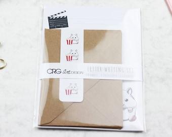 Popcorn Hamster Letter Writing Set | Snailmail Penpals Stationery