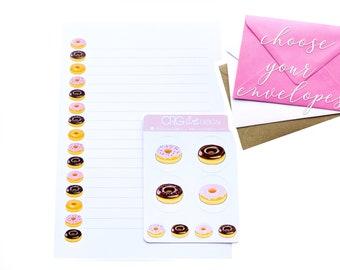 Donut Letter Writing Set   Snailmail Penpals Stationery