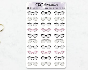 Glasses Stickers | Planner Erin Condren Filofax Travelers Notebook