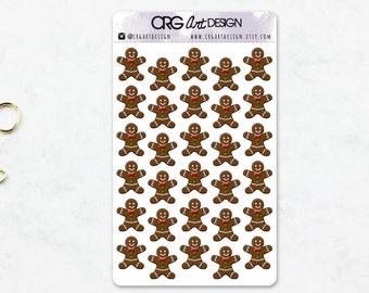Gingerbread Man Stickers  | Planner Erin Condren Filofax Sticker Travelers Notebook
