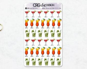 Cocktail Stickers | Planner Erin Condren Filofax Travelers Notebook