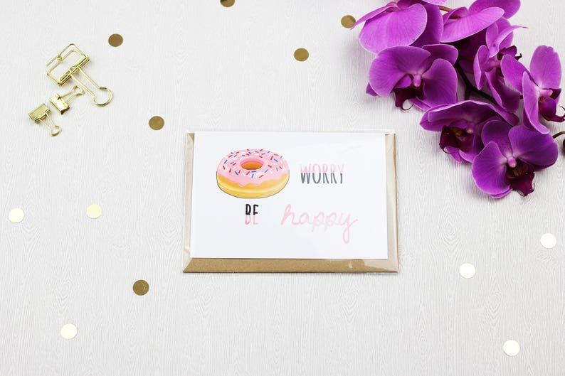 Donut Worry  Be Happy Greeting Card with Envelope image 0