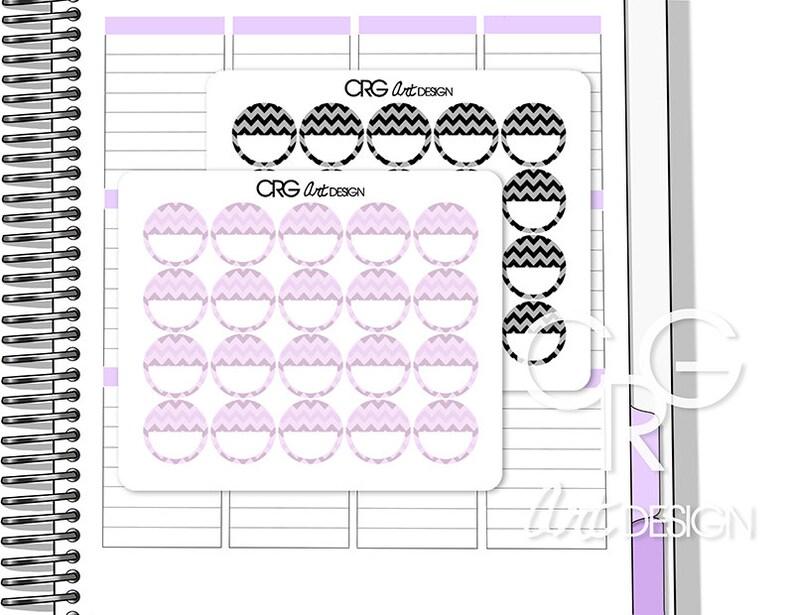 Chevron Pattern Circle Stickers  Erin Condren Planner Filofax image 0