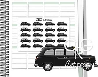 British Black Taxi Cab Stickers   Planner Erin Condren Plum Planner Filofax Sticker