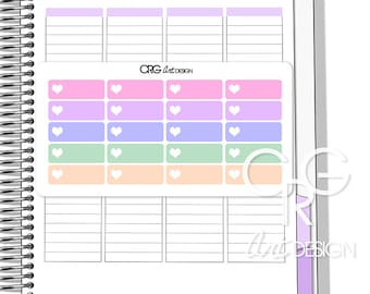Pastel Heart Label Stickers for Plum Planner | Erin Condren Planner Filofax Sticker