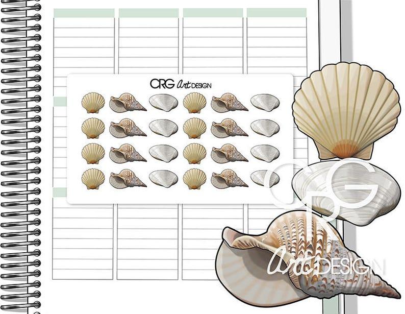 Sea Shells Stickers  Planner Erin Condren Plum Planner image 0