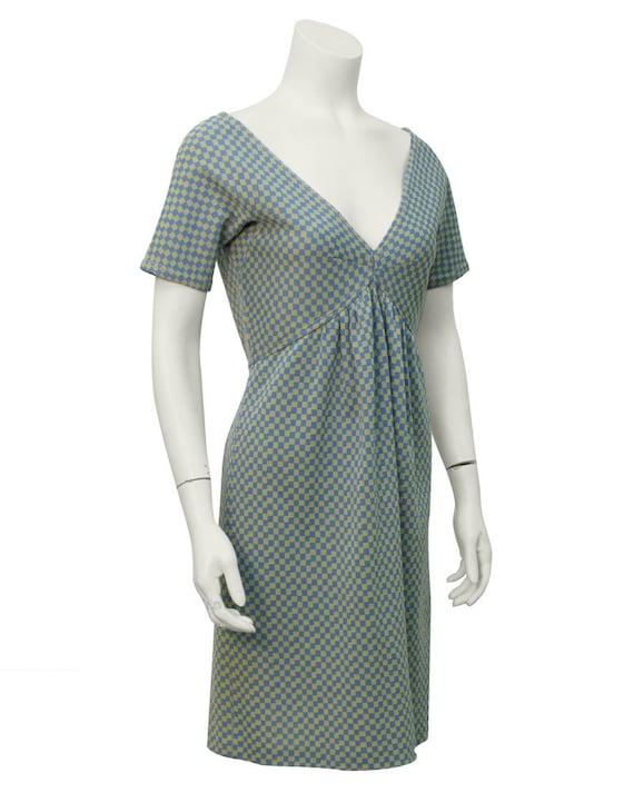1960's Rudi Gernreich Blue V Neck Short Sleeve Che