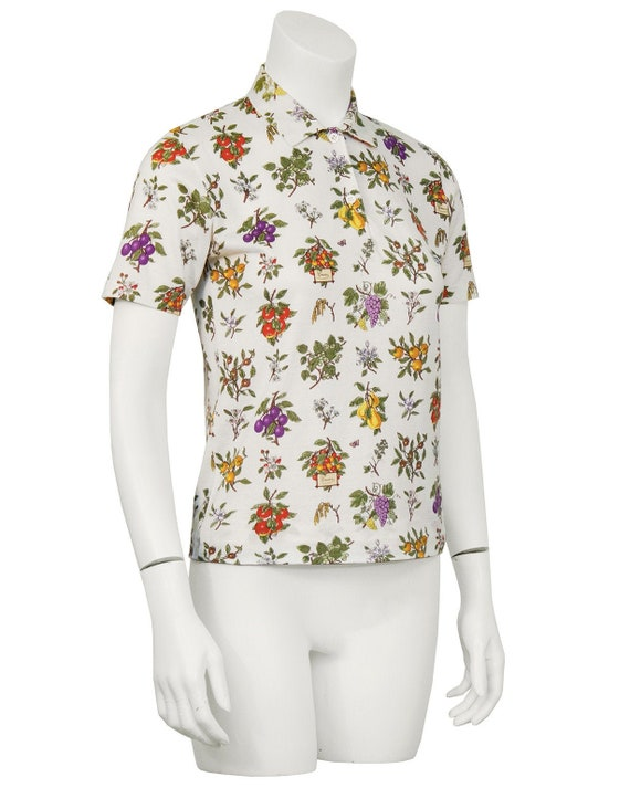 1970's Gucci Floral Polo Top - image 1