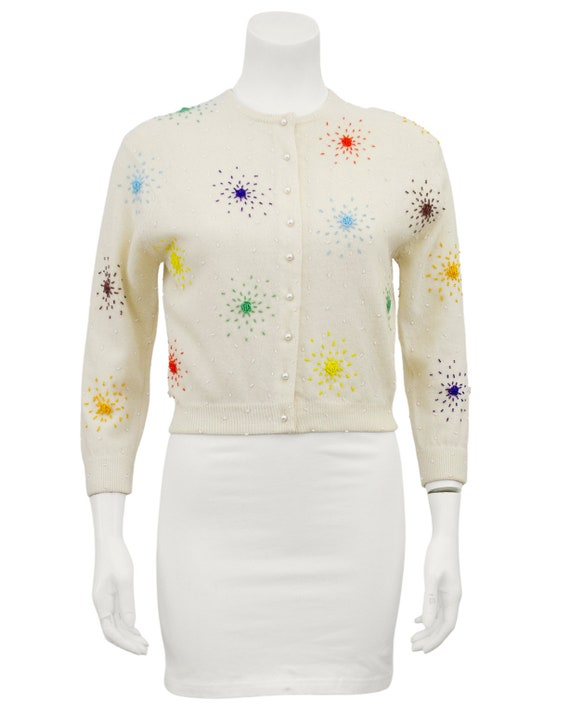 1950s I. Magnin Colourful Beaded Cardigan