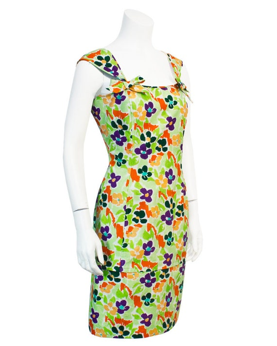 1980's Ungaro Green Cotton Dress with Multicolour