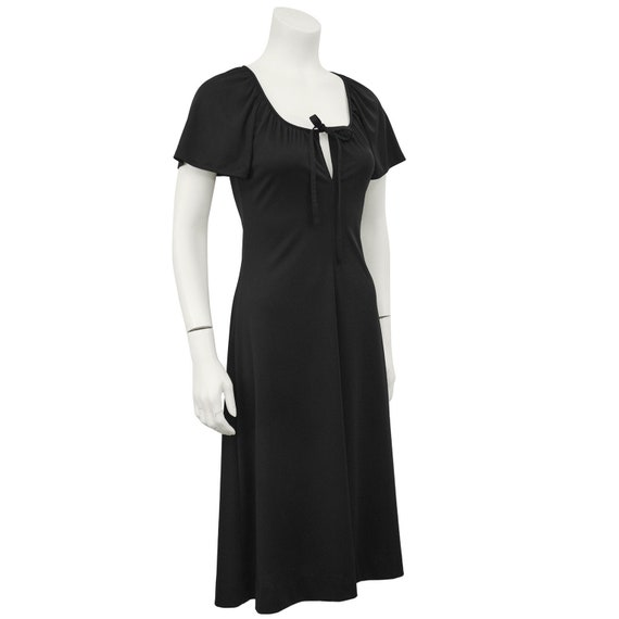 1970s Clovis Ruffin Black Keyhole Dress