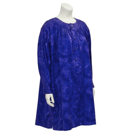 1980s Blue Dip Dyed Smock Dress