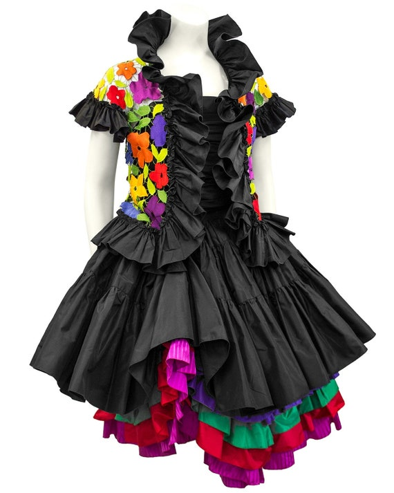 1980s Black Taffeta Bustier, Skirt and Floral Jac… - image 2