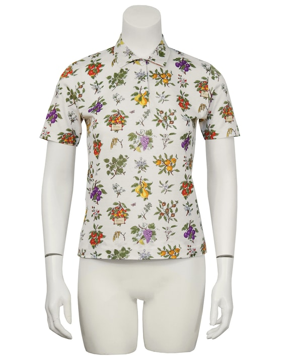 1970's Gucci Floral Polo Top - image 2
