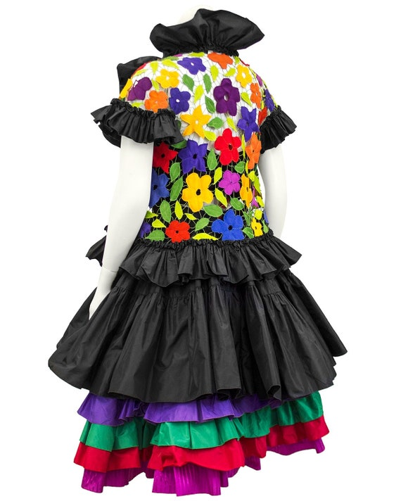 1980s Black Taffeta Bustier, Skirt and Floral Jac… - image 3