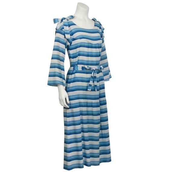 1970s Sonia Rykiel Blue striped peasant dress