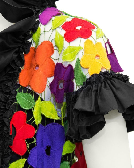 1980s Black Taffeta Bustier, Skirt and Floral Jac… - image 5