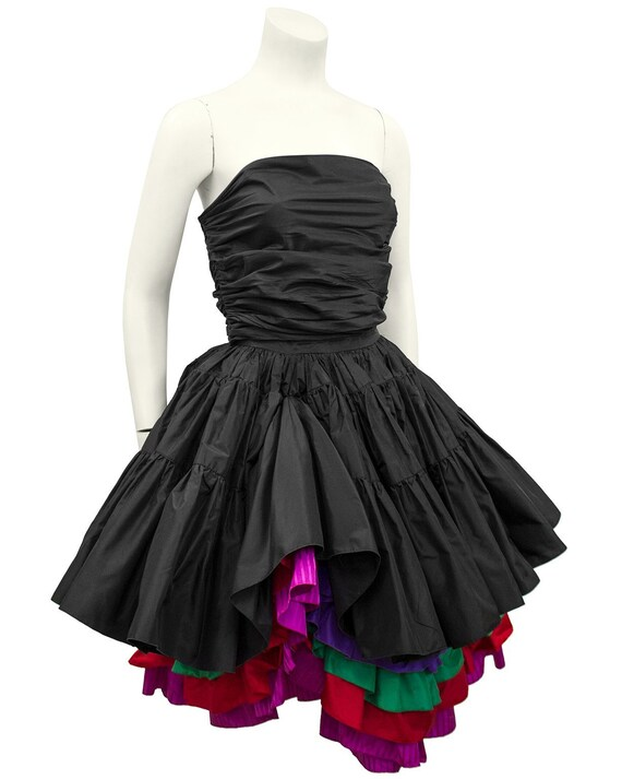 1980s Black Taffeta Bustier, Skirt and Floral Jack