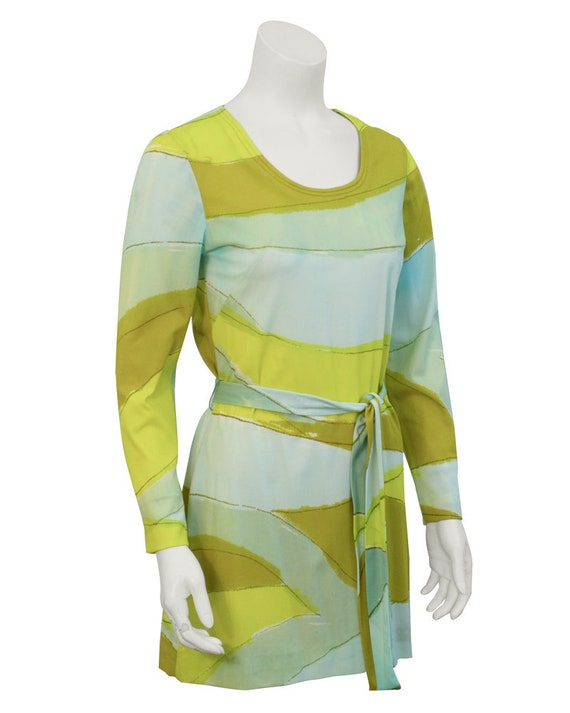 1960s Vera Blue & Green Graphic Print Tunic