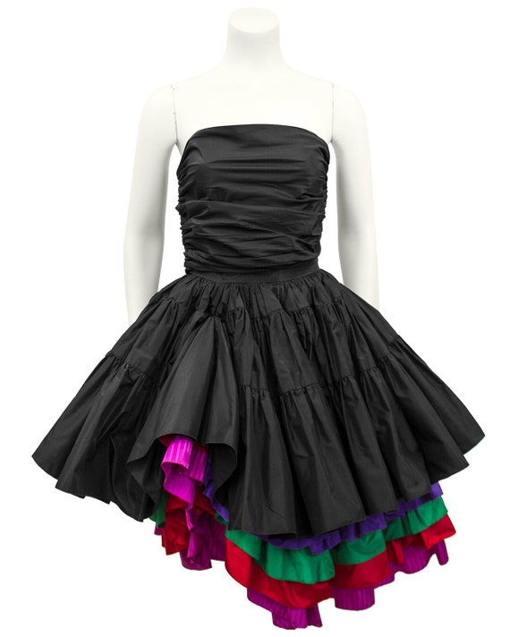 1980s Black Taffeta Bustier, Skirt and Floral Jac… - image 4