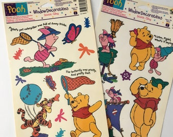 Vintage Winnie the Pooh window clings, Winnie the Pooh window decorations, Pooh window clings, 90s window clings, disney window clings