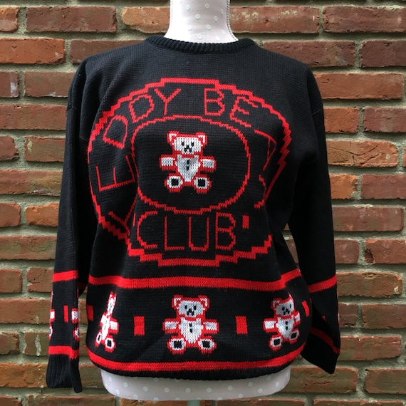 1980s Private Eyes red and black Teddy Bear Club pullover knit  621d1e3fa