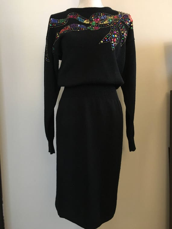 838b29ea14 1980s Darian black and rainbow sequined knit sweater dress