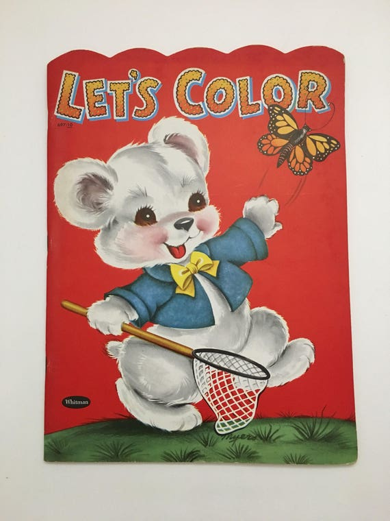 Vintage UNUSED Let's Color Whitman coloring book, 50s Whitman coloring book, 50s coloring book, 1954 Whitman book, uncolored coloring book,