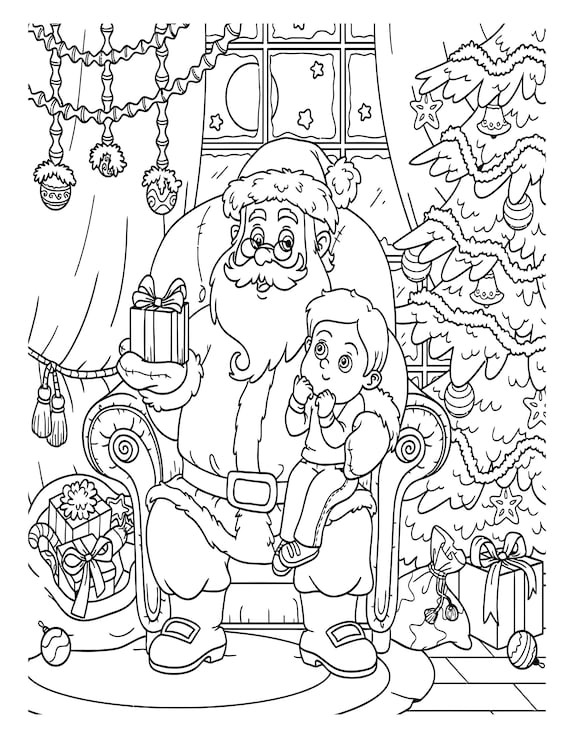 Printable Christmas Coloring Pages For Kids 60 Xmas Coloring Etsy