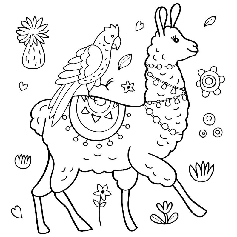Llamas Coloring Pages For Adults and Kids Printable | Etsy